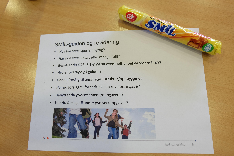 Programmet og en SMIL-sjokolade