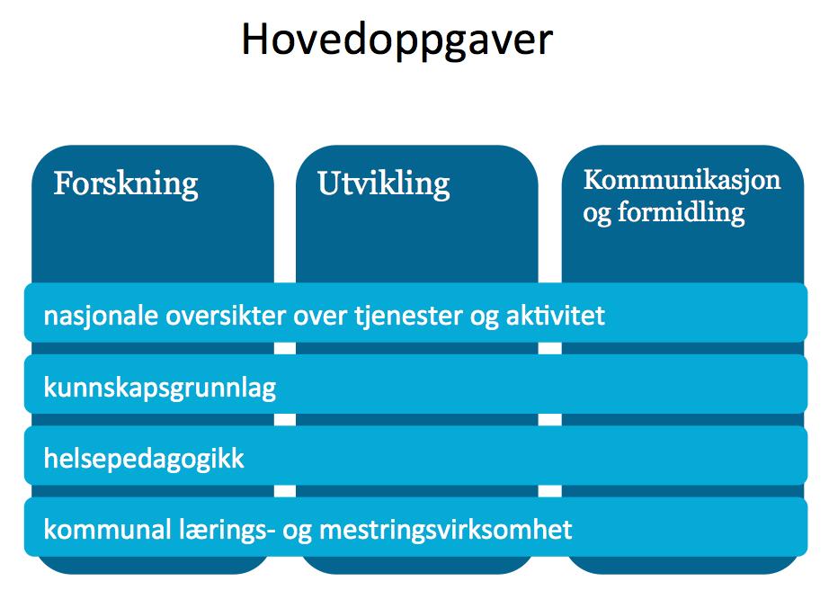 Fire overordnede satsingsområder for 2014–2018: nasjonale oversikter over tjenester og aktivitet / kunnskapsgrunnlag / helsepedagogikk / kommunal lærings- og mestringsvirksomhet.