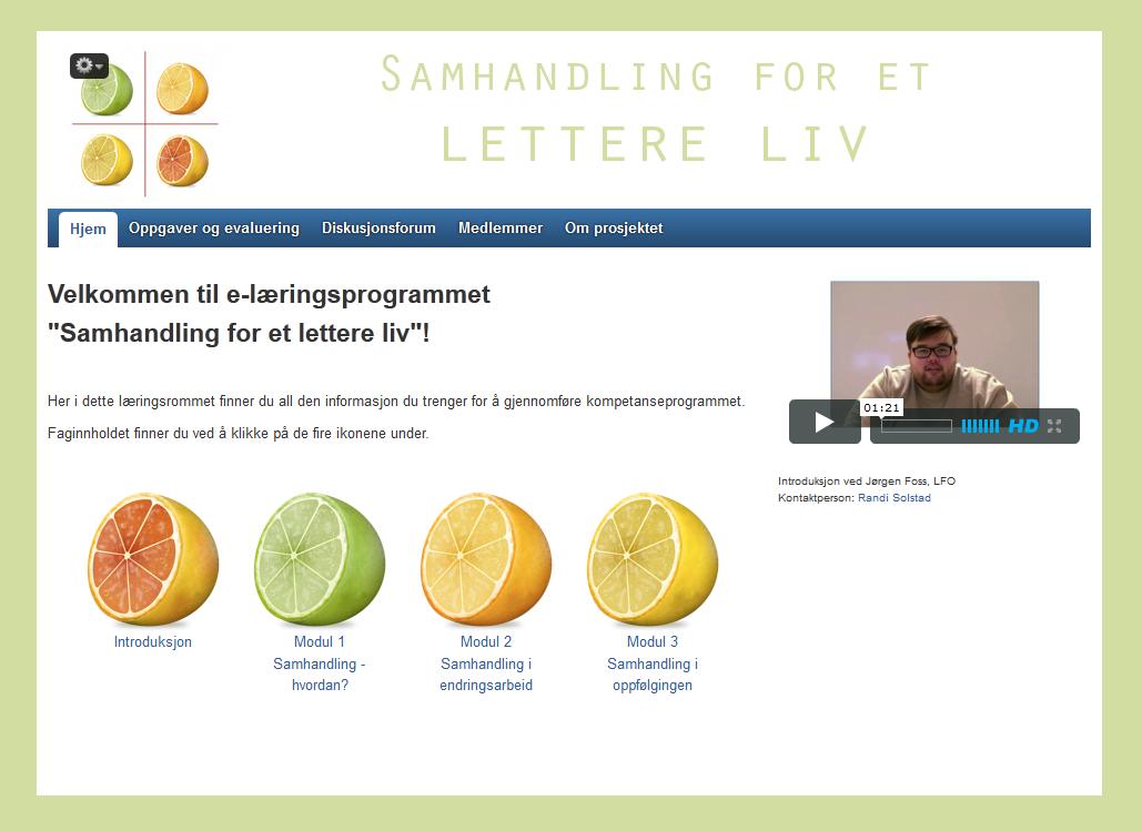 Her ser du startsiden til e-læringsprogrammet «Samhandling for et enklere liv».