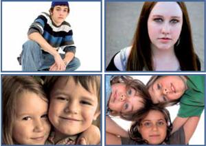 SMIL, 4 bilder av barn og unge