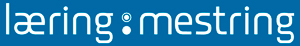 Illustrasjon, logo læring og mestring, hvit på blå