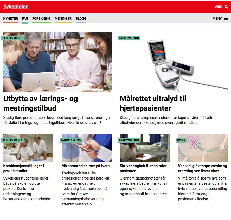Bilde av forsiden til sykepleien.no om utbytte av lærings- og mestringstilbud