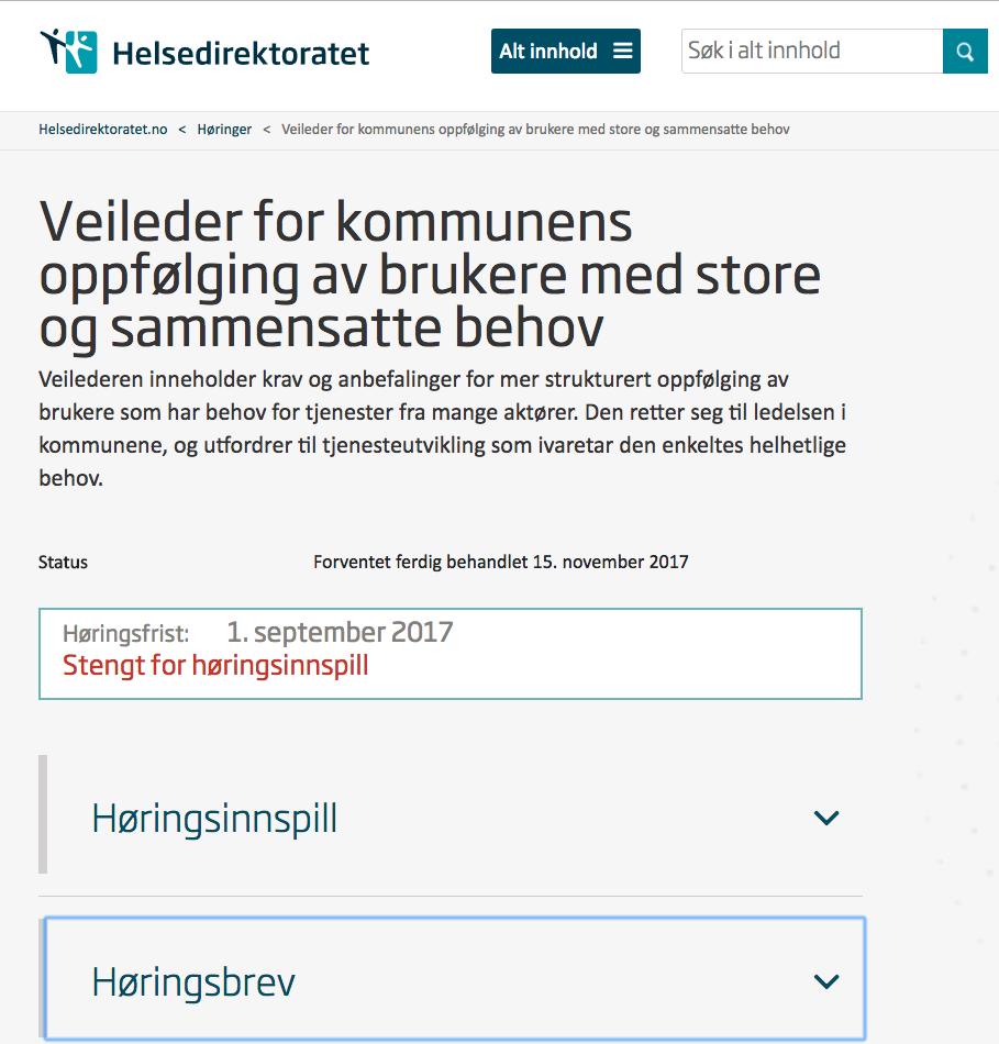 Bilde av Helsedirektoratets nettsider om høringen