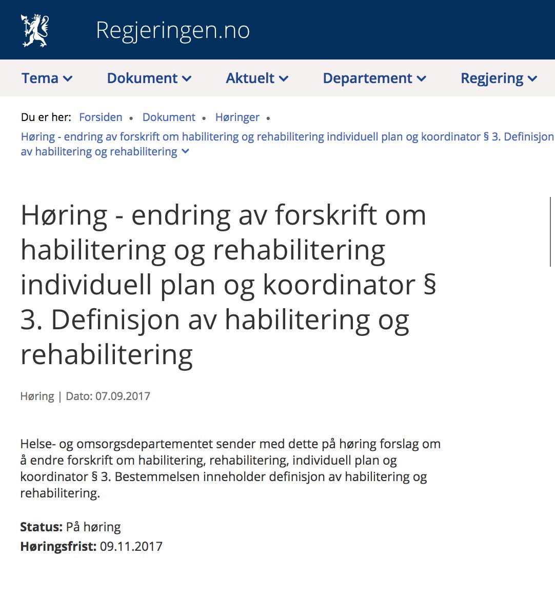 skjermdump fra regjering.no