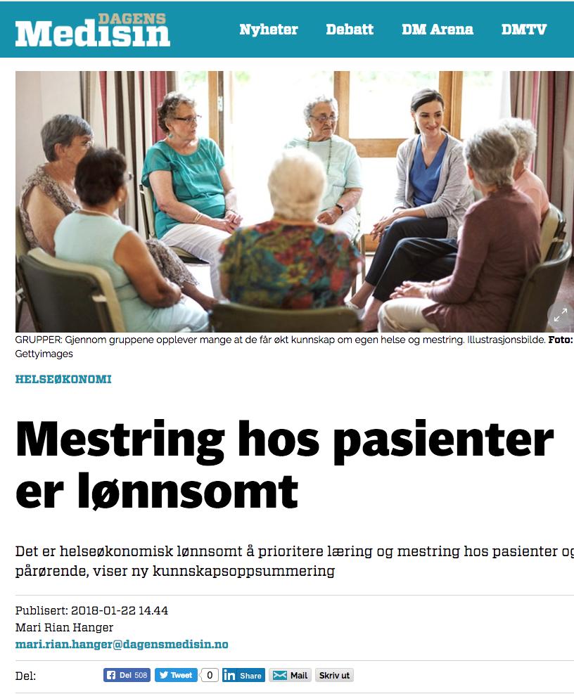 Skjermdump av artikkel i Dagens Medisin