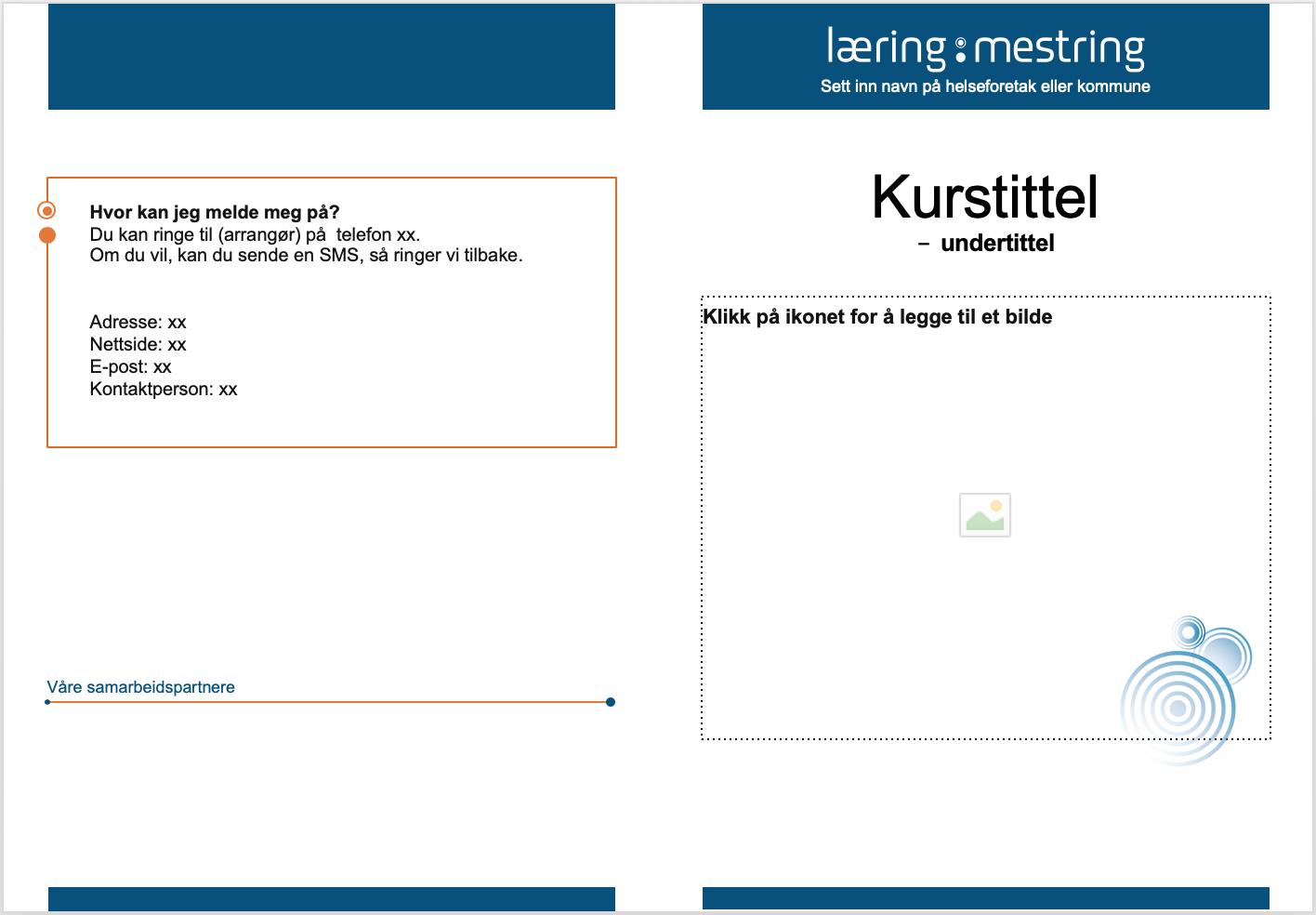 skjermdump av brosjyremal