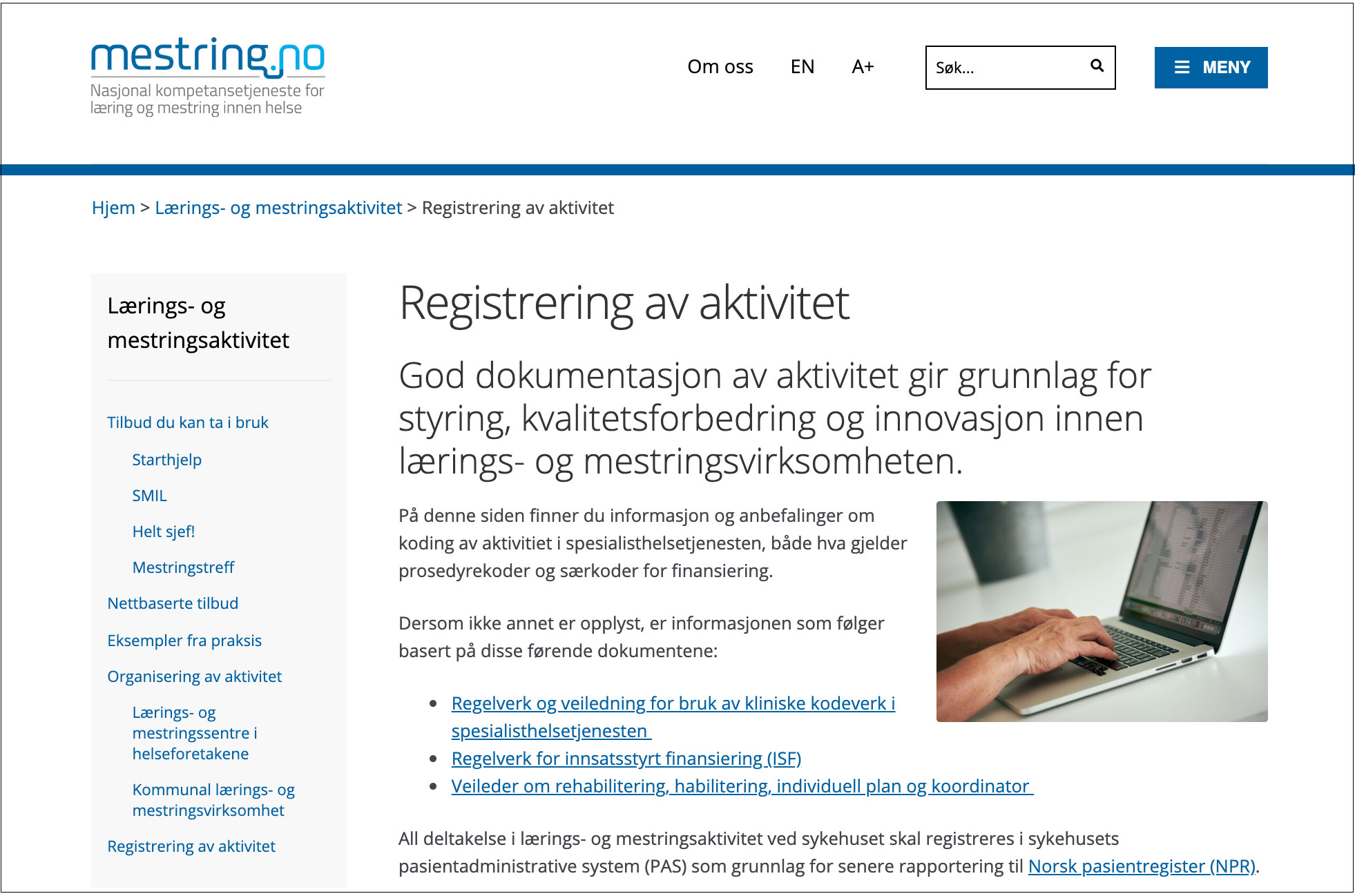 Ny side: Registrering av aktivitet